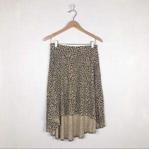 Guess leopard print high low skirt